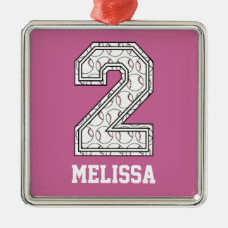 Personalized Baseball Number 2 Christmas Ornament