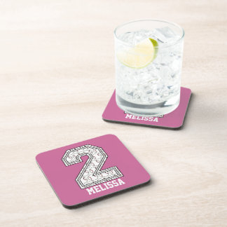 Personalized Baseball Number 2 Beverage Coasters