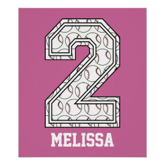 Personalized Baseball Number 2 Poster