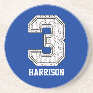 Personalized Baseball Number 3 Drink Coaster