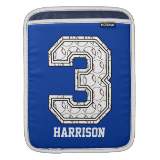 Personalized Baseball Number 3 iPad Sleeves