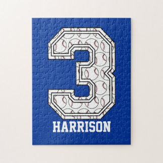 Personalized Baseball Number 3 Jigsaw Puzzle