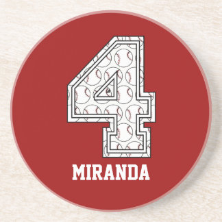 Personalized Baseball Number 4 Drink Coaster