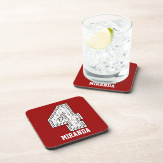 Personalized Baseball Number 4 Drink Coasters