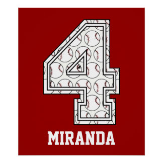 Personalized Baseball Number 4 Print