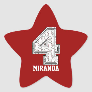 Personalized Baseball Number 4 Star Sticker