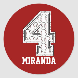 Personalized Baseball Number 4 Round Stickers