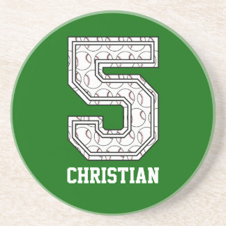 Personalized Baseball Number 5 Beverage Coaster