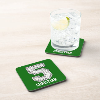 Personalized Baseball Number 5 Drink Coasters