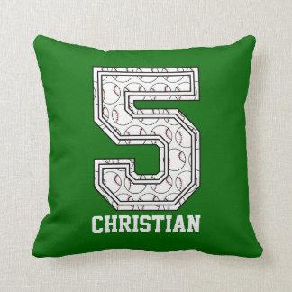 Personalized Baseball Number 5 Cushion