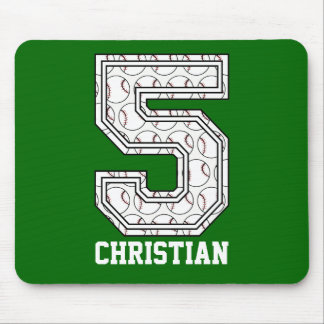 Personalized Baseball Number 5 Mouse Mat