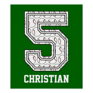 Personalized Baseball Number 5 Poster