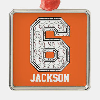 Personalized Baseball Number 6 Christmas Ornament