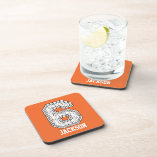Personalized Baseball Number 6 Drink Coasters