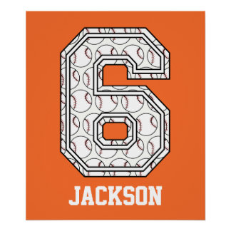 Personalized Baseball Number 6 Poster
