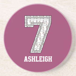 Personalized Baseball Number 7 Drink Coasters