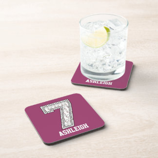 Personalized Baseball Number 7 Drink Coaster