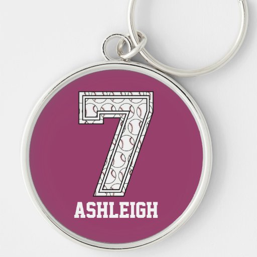 Personalized Baseball Number 7 Keychain