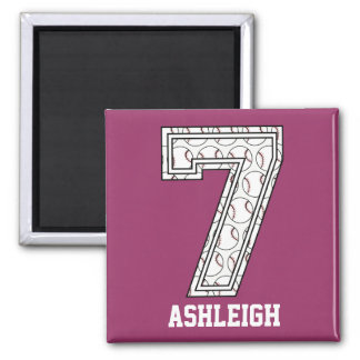 Personalized Baseball Number 7 Magnet