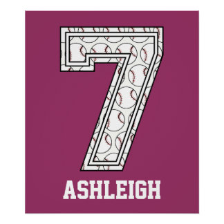 Personalized Baseball Number 7 Poster