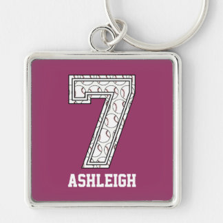Personalized Baseball Number 7 Silver-Colored Square Key Ring