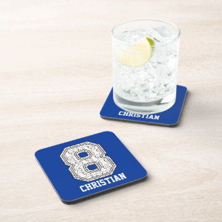 Personalized Baseball Number 8 Beverage Coasters