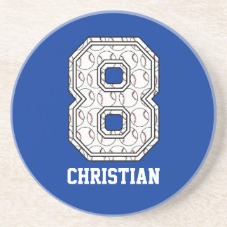 Personalized Baseball Number 8 Coasters