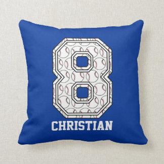 Personalized Baseball Number 8 Cushion