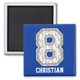 Personalized Baseball Number 8 Magnet