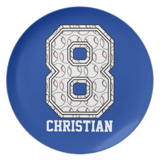 Personalized Baseball Number 8 Party Plates