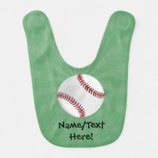 Personalized Baseball on Green Kids Boys Bib