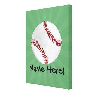 Personalized Baseball on Green Kids Boys Canvas Print