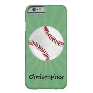 Personalized Baseball on Green Kids Boys Barely There iPhone 6 Case