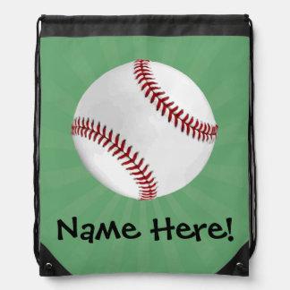 Personalized Baseball on Green Kids Boys Drawstring Bag