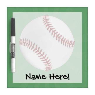 Personalized Baseball on Green Kids Boys Dry Erase Board