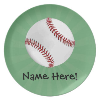 Personalized Baseball on Green Kids Boys Party Plate