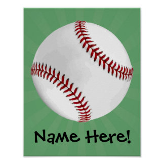 Personalized Baseball on Green Kids Boys Poster
