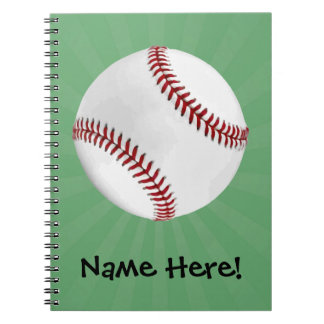 Personalized Baseball on Green Kids Boys Spiral Notebook