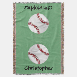 Personalized Baseball on Green Kids Boys Throw Blanket