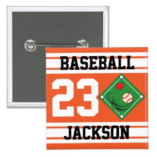 Personalized Baseball Orange Design Pin