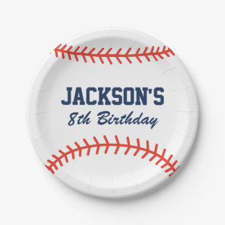 Personalized Baseball Party Paper Plates