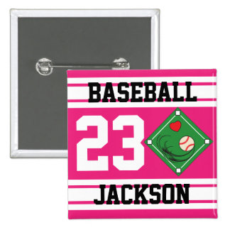 Personalized Baseball Pink Design Pin