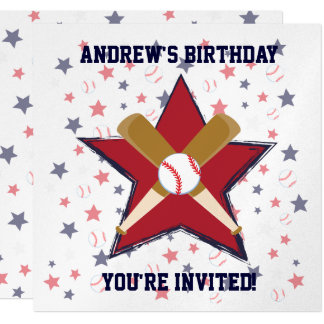 Personalized  Baseball player Birthday party Card