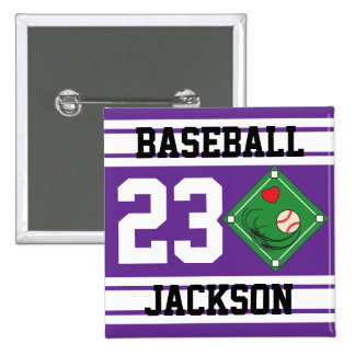 Personalized Baseball Purple Design Pin