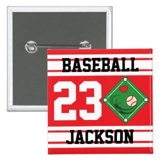 Personalized Baseball Red Design Buttons