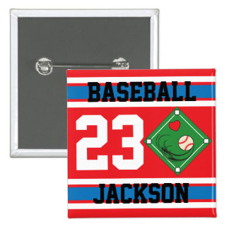 Personalized Baseball Red, White and Blue Design Pinback Button