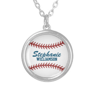 Personalized Baseball Silver Plated Necklace