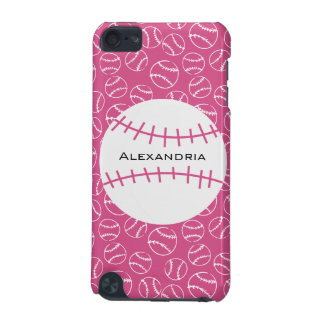 Personalized Baseball Softball Pattern on Pink iPod Touch 5G Cases