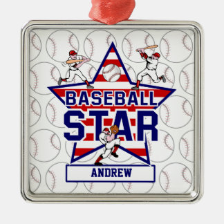 Personalized Baseball Star and stripes Christmas Ornament