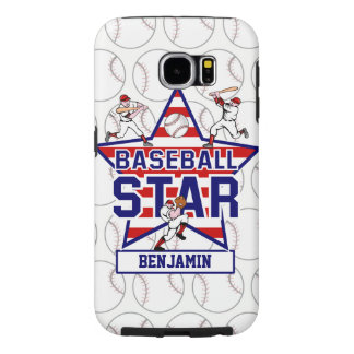 Personalized Baseball Star and Stripes Samsung Galaxy S6 Cases